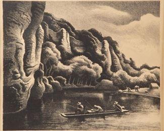 45: Thomas Hart Benton 'Making Camp' Signed Lithograph