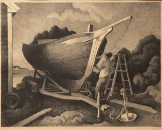 46: Thomas Hart Benton 'Repairing the Sloop' Signed Lithograph