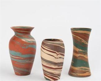 51: Three Niloak Vases, Eagle Pottery