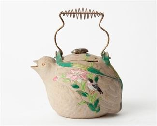 53: Hori Tomonao Japanese Quail Teapot, Meiji Period