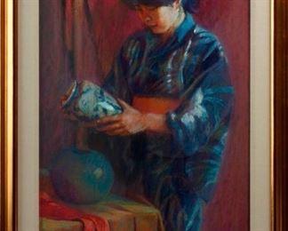 57: Jane Uren Scott Pastel, 'The Collector'