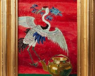 58: Original Birger Sandzen Oil, Crane and Teapot (1915)