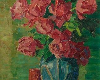 64: Original Birger Sandzen Oil, Roses (1915)