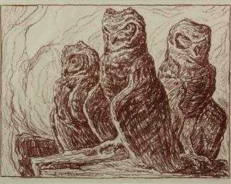 61: Birger Sandzen 'Three Owls' Pencil-Signed Lithograph