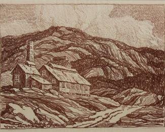63: Birger Sandzen 'Abandoned Mill' Signed Lithograph