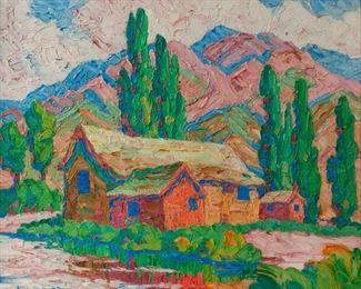 76: Original Birger Sandzen Oil, 'Utah Farm Barns' (1929)