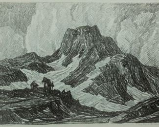 71: Birger Sandzen 'Gray Day in the Mountains' Lithograph