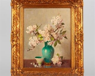 77: A.D. Greer (1904-1998) Oil on Board, Cherry Blossoms
