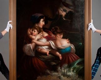 79: 19th c. William Frye Oil, Shipwrecked Mother & Children