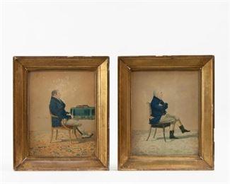 80: Pair of Early 19th c. Watercolors, Formal Gentlemen