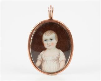 83: Portrait Miniature on Ivory with Child's Hair, 19th c.