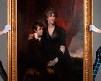 81: 'Mother & Son' Oil With Old Thomas Lawrence Attribution