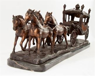 86: Large Cast Metal Horse-Drawn Carriage