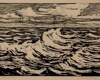 89: Birger Sandzen 'Summer Breeze' Woodcut, Hand Accented