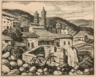 90: Birger Sandzen 'Glimpse of Taxco' Signed Lithograph