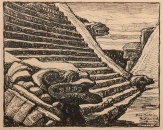 91: Birger Sandzen 'Temple of Quetzalcoatl' Lithograph
