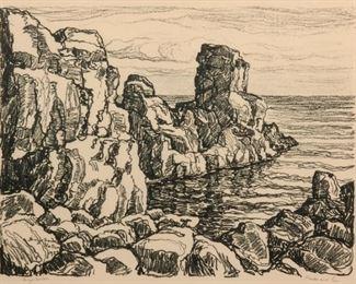 92: Birger Sandzen 'Rocks and Sea' Pencil-Signed Lithograph