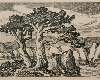93: Birger Sandzen 'Arroyo with Trees' Signed Lithograph