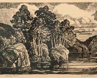 94: Birger Sandzen 'Evening Clouds' Signed Lithograph