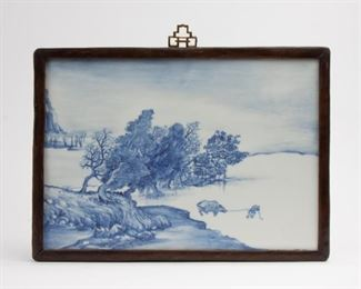 96: Chinese Painted Porcelain Plaque in Rosewood Frame