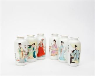 98: Six Chinese Eggshell Porcelain Hand-Painted Vases