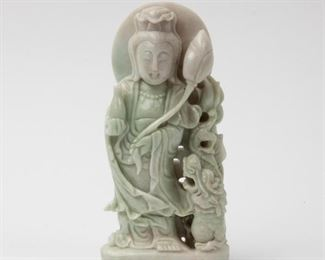99: Carved Jadeite Jade Guanyin Bodhisattva, 19th/20th c.