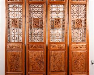 102: Four Elaborately Carved Chinese Elm Door Panels