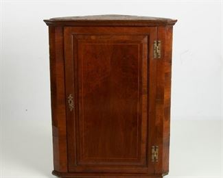 106: Early American Walnut Hanging Corner Wall Cabinet