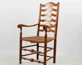 107: Georgian Ash Ladder-Back Arm Chair