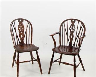 108: Georgian English Oak Windsor Chairs, Pair