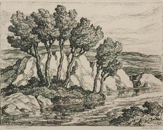 113: Birger Sandzen 'Creek and Pasture' Signed Lithograph