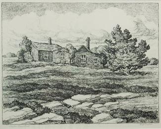114: Birger Sandzen 'Barker Homestead' Signed Lithograph