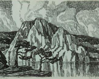 116: Birger Sandzen 'Lake in the Mountains' Lithograph