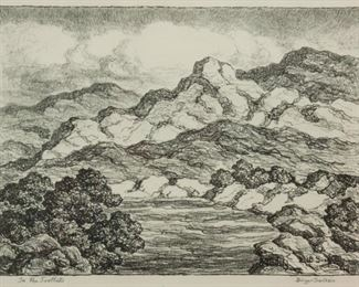 117: Birger Sandzen 'In the Foothills' Signed Lithograph