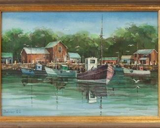 122: Joseph Bohler (b. 1938) Watercolor, Harbor Scene
