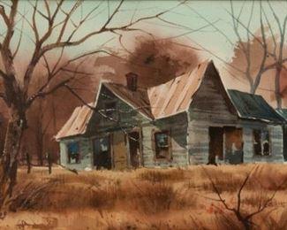 123: Joseph Bohler (b. 1938) Watercolor, Winter Homestead
