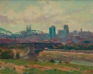 124: Phil Starke Oil on Canvas, View of Kansas City