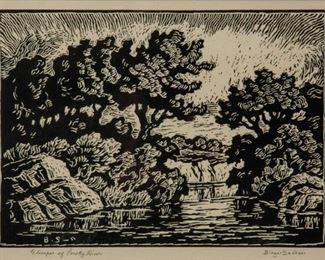 131: Birger Sandzen 'Glimpse of Smoky River' Signed Linocut