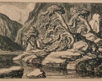 133: Birger Sandzen 'Hidden Lake' Pencil-Signed Lithograph