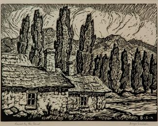 136: Birger Sandzen 'Houses by the Canal' Signed Linocut