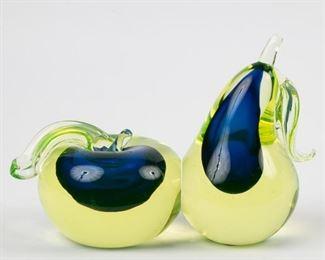 137: Cenedese Murano Art Glass Fruit Bookends