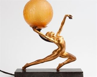 147: Figural Nude Art Deco Lamp with Crackle Glass Globe
