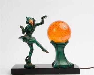 148: Harlequin Dancer Art Deco Lamp