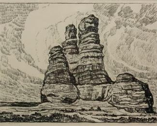 176: Birger Sandzen 'The Prairie Castle' Signed Lithograph