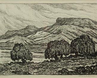 178: Birger Sandzen 'Willows by the Rio Grande' Lithograph