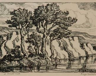 179: Birger Sandzen 'A Kansas Creek' Signed Lithograph