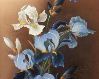 182: Antique Botanical Pastel, Irises