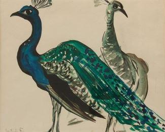 184: Gertrude Freyman Watercolor of Peacocks