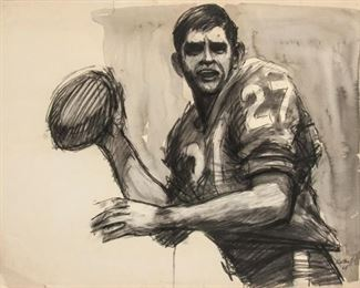 185: Robert Kalthoff 1964 Charcoal and Wash on Paper