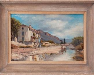 186: Antique Pelestor Oil on Canvas, Desert Home